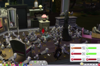 A screenshot from Celine Song's The Seagull on The Sims 4 featuring a figure of Death surrounded by seagulls